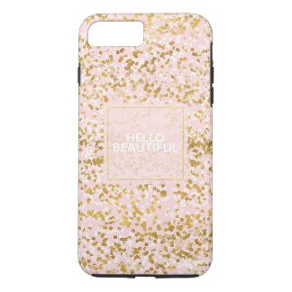 Capa iPhone 8 Plus/7 Plus Confetes cor-de-rosa brancos do ouro