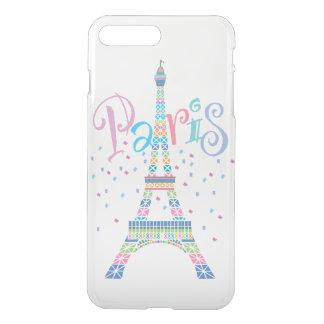 Capa iPhone 8 Plus/7 Plus Confetes iPhone7 da torre Eiffel mais o caso claro