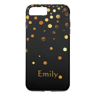 Capa iPhone 8 Plus/7 Plus Confetes pretos personalizados do falso do brilho