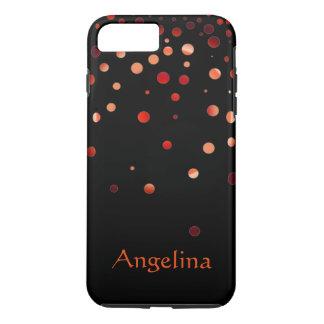 Capa iPhone 8 Plus/7 Plus Confetes vermelhos pretos personalizados do falso