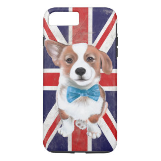 Capa iPhone 8 Plus/7 Plus Corgi e bandeira
