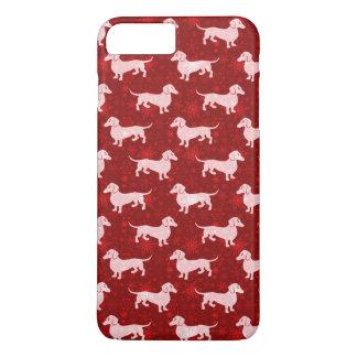 Capa iPhone 8 Plus/7 Plus Dachshunds do floco de neve do Natal vermelhos