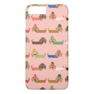 Capa iPhone 8 Plus/7 Plus Dachshunds no rosa