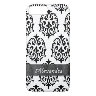 Capa iPhone 8 Plus/7 Plus Damasco preto e branco elegante chique