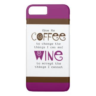 Capa iPhone 8 Plus/7 Plus Dê-me caso positivo do iPhone 7 do café e do vinho
