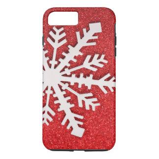 Capa iPhone 8 Plus/7 Plus Do brilho do Natal dos Sparkles floco de neve