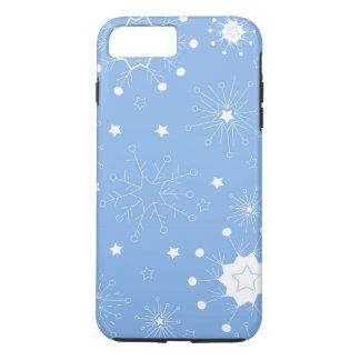 Capa iPhone 8 Plus/7 Plus Flocos de neve do feriado no azul