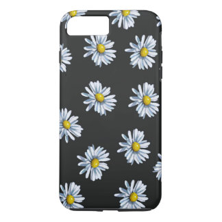 Capa iPhone 8 Plus/7 Plus Flores tiradas mão da margarida no fundo preto