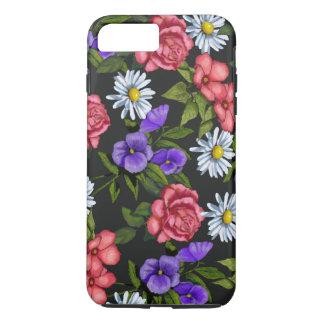 Capa iPhone 8 Plus/7 Plus Flores tiradas mão no fundo preto