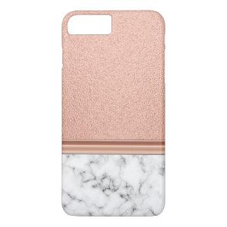 Capa iPhone 8 Plus/7 Plus Folha de ouro cor-de-rosa no mármore