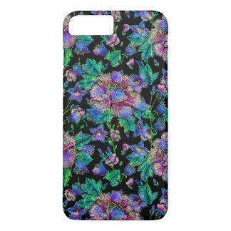 Capa iPhone 8 Plus/7 Plus Fundo colorido do preto do teste padrão de flores