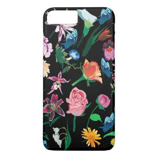 Capa iPhone 8 Plus/7 Plus Fundo preto Assorted colorido das flores