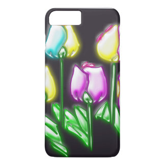 Capa iPhone 8 Plus/7 Plus Fundo preto das flores retros abstratas coloridas