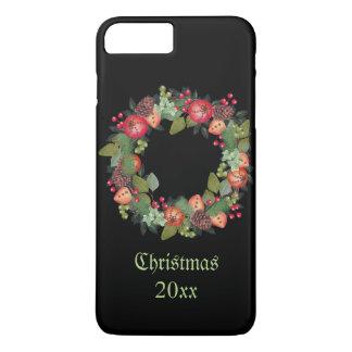 Capa iPhone 8 Plus/7 Plus Grinalda do natal vintage no fundo preto