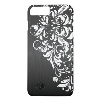 Capa iPhone 8 Plus/7 Plus Laço branco no fundo preto