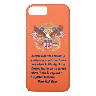 Capa iPhone 8 Plus/7 Plus Laranja patriótica do outono da paz da liberdade