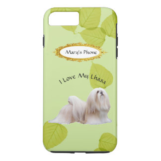 Capa iPhone 8 Plus/7 Plus Lhasa Apso nas folhas do verde com nome