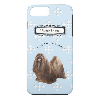 Capa iPhone 8 Plus/7 Plus Lhasa Apso no azul com diamantes brancos