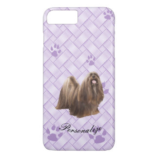 Capa iPhone 8 Plus/7 Plus Lhasa Apso no Weave da lavanda com pawprints