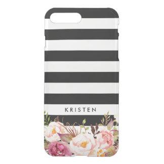 Capa iPhone 8 Plus/7 Plus Listras brancas pretas florais rústicas