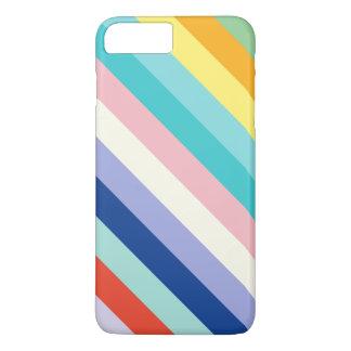 Capa iPhone 8 Plus/7 Plus Listras diagonais em cores do primavera