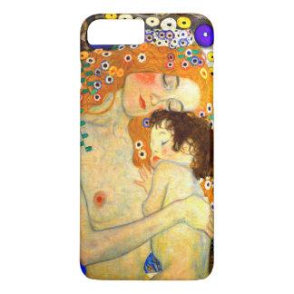 Capa iPhone 8 Plus/7 Plus Mãe e criança pela arte Nouveau de Gustavo Klimt