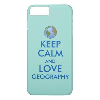 Capa iPhone 8 Plus/7 Plus Mantenha a calma e a geografia do amor