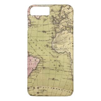 Capa iPhone 8 Plus/7 Plus Mapa do atlas de Oceano Atlântico