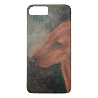 Capa iPhone 8 Plus/7 Plus Mini dachshund liso vermelho