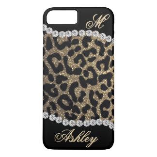 Capa iPhone 8 Plus/7 Plus Monograma do leopardo e do diamante