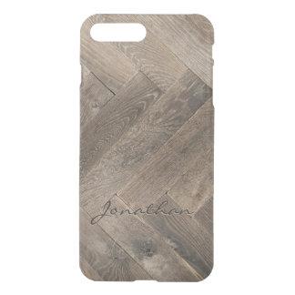 Capa iPhone 8 Plus/7 Plus Monograma do teste padrão de ziguezague da madeira