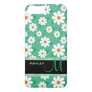 Capa iPhone 8 Plus/7 Plus Monograma floral do teste padrão de flores da