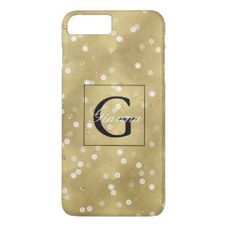 Capa iPhone 8 Plus/7 Plus Monograma sonhador dos confetes de Bokeh do ouro