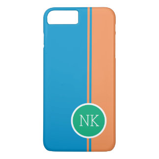 Capa iPhone 8 Plus/7 Plus Monograma verde moderno do círculo com tangerina