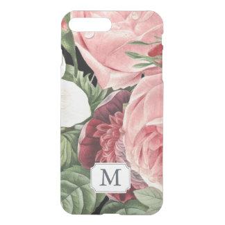 Capa iPhone 8 Plus/7 Plus Nome floral do monograma do rosa moderno do