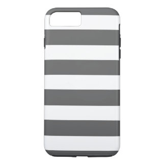 Capa iPhone 8 Plus/7 Plus O branco cinzento moderno de carvão vegetal listra