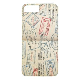 Capa iPhone 8 Plus/7 Plus O passaporte retro do estilo carimba presentes