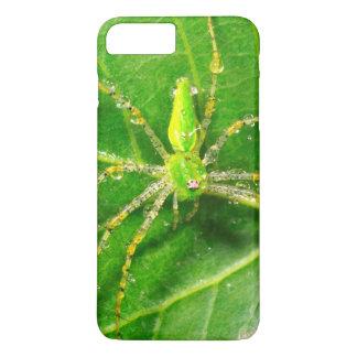 Capa iPhone 8 Plus/7 Plus Orvalho em uma aranha verde do lince