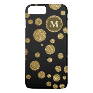 Capa iPhone 8 Plus/7 Plus ouro das bolinhas no preto, personalizado