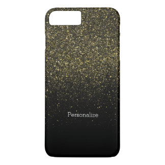 Capa iPhone 8 Plus/7 Plus Ouro e brilho do falso dos Sparkles do preto