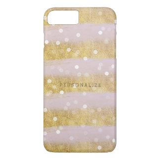 Capa iPhone 8 Plus/7 Plus Ouro e confetes de Bokeh das listras do rosa