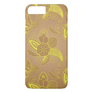 Capa iPhone 8 Plus/7 Plus Ouro Paisley floral do falso no motivo indiano do