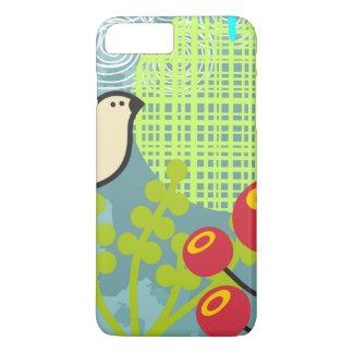 Capa iPhone 8 Plus/7 Plus padrão das flores e dos pássaros mal lá