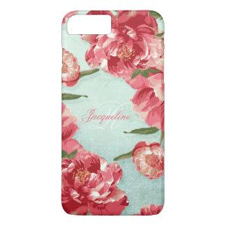Capa iPhone 8 Plus/7 Plus Peônias à moda elegantes de chintz da flor retro