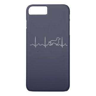 Capa iPhone 8 Plus/7 Plus Pulsação do coração do Dachshund