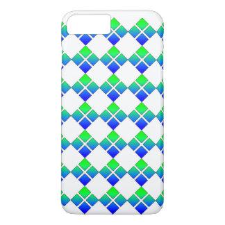 Capa iPhone 8 Plus/7 Plus Quadrado do diamante 4 do verde azul