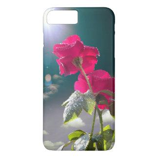 Capa iPhone 8 Plus/7 Plus Rosas cor-de-rosa de escalada com o céu azul