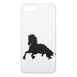 Capa iPhone 8 Plus/7 Plus Silhueta Running branca preta do cavalo