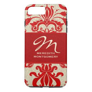 Capa iPhone 8 Plus/7 Plus Tema do profissional do damasco do vermelho e do