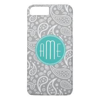 Capa iPhone 8 Plus/7 Plus Teste padrão cinzento floral chique de Paisley &